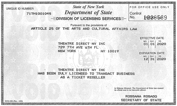 Theatre Direct NY, Inc. Ticket Resell License