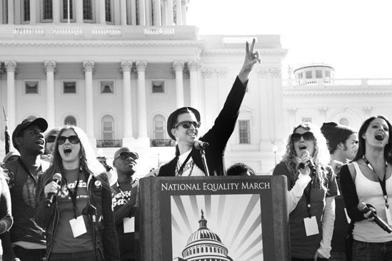 Hair at the National Equality March - Gavin Creel at podium
