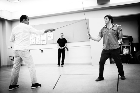 Free Man of Color Rehearsal – Jeffrey Wright – Tom Schall – Reg Rogers (black and white)