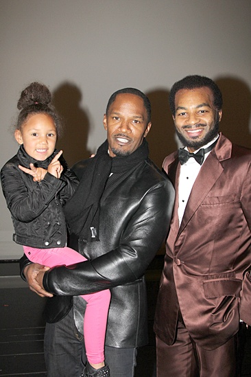 Jamie Foxx at Motown – Annalise Foxx - Jamie Foxx – Brandon Victor DixonDouble peace sign! Annalise and Jamie Foxx pose with <I>Motown</I> main man Brandon Victor Dixon.