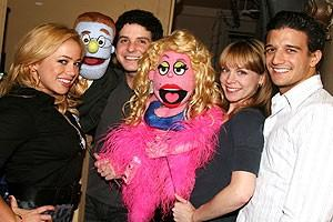 Photo Op - Sabrina Bryan at Avenue Q - Sabrina Bryan - Rod - Howie Michael Smith - Lucy the Slut - Mary Faber - Mark Ballas