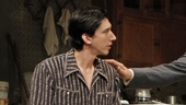 Adam Driver as Basil Anthony, Frank Langella as Gregor Antonescu, Michael Siberry as Sven Johnson and Zach Grenier as Mark Herries in Man and Boy.