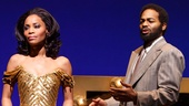 Valisia LeKae as Diana Ross and Brandon Victor Dixon as Berry Gordy in Motown: The Musical.