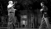 Philip Seymour Hoffman as Willy Loman and Andrew Garfield as Biff Loman in Death of a Salesman.
