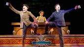 Jefferson Mays as Henry D'Ysquith, Jennifer Smith & Bryce Pinkham as Monty Navarro in A Gentleman's Guide to Love and Murder