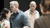 Phoebe Fox as Catherine, Russell Tovey as Rodolpho, Mark Strong as Eddie, and Nicola Walker as Beatrice in A View From the Bridge