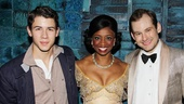 Tony-nominated stars Chad Kimball and Montego Glover chat with Nick Jonas after one of their final performances together. (Chad is set to depart on October 23.)