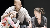 Phoebe Fox as Catherine, Mark Strong as Eddie and Nicola Walker as Beatrice in A View From the Bridge
