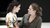Phoebe Fox as Catherine and Nicola Walker as Beatrice in A View From the Bridge