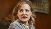 Geneva Carr as Margery and Marc Kudisch as Pastor Greg in Hand to God