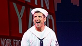 Jay Armstrong Johnson as Chip, Tony Yazbeck as Gabey, Clyde Alves as Ozzie in On the Town