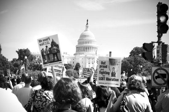 Hair at the National Equality March - Rally Signs