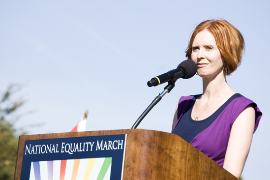 Hair at the National Equality March - Cynthia Nixon