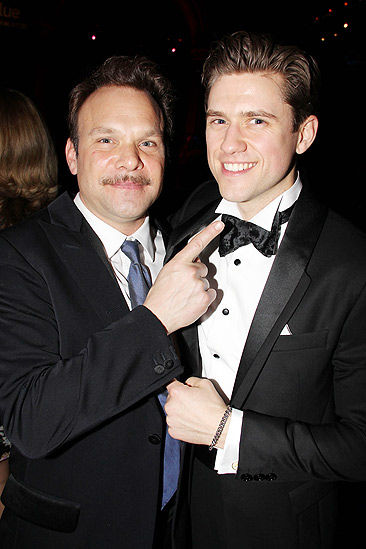 Catch Me If You Can Opening Night – Norbert Leo Butz – Aaron Tveit (pointing)