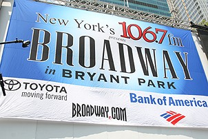 Photo Op - Broadway in Bryant Park 07-26-07 - stage backdrop with sponsors