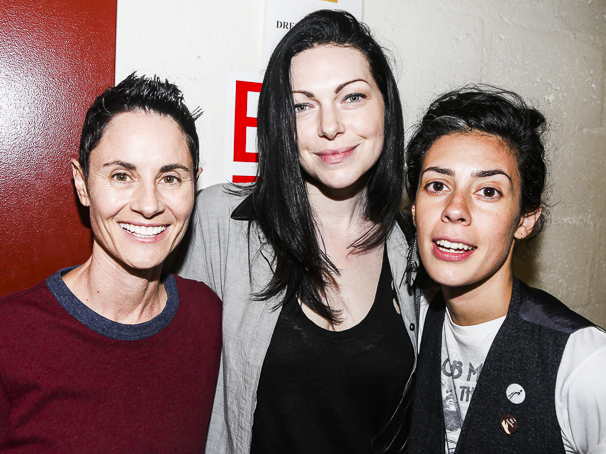 Fun Home - backstage - 7/15 - Beth Malone, Laura Prepon - Roberta Colindrez