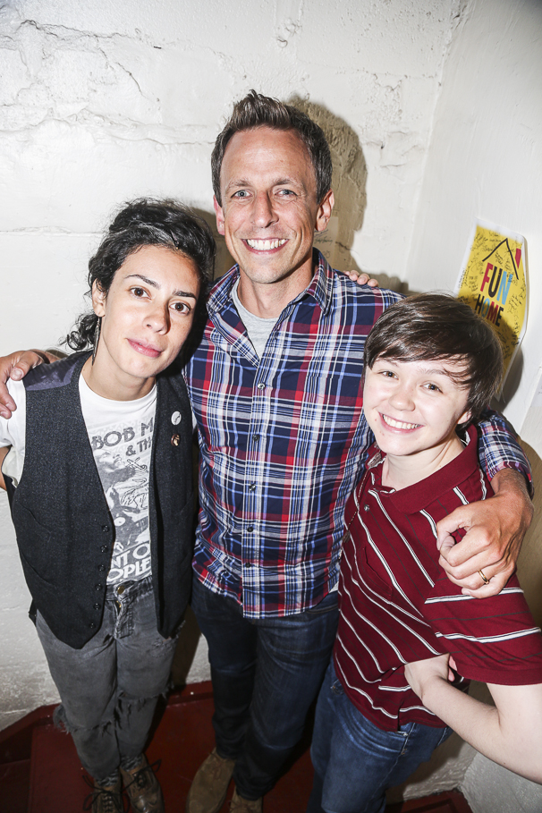 Fun Home - backstage - 7/15 - Roberta Colindrez, Seth Meyers and Emily Skeggs