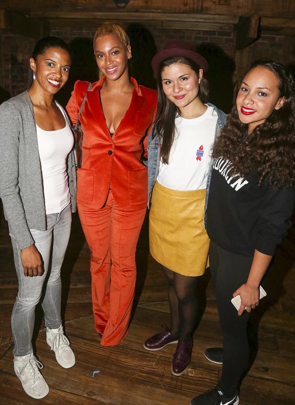Hamilton - Backstage - 10/15 - Renee Elise Goldsberry, Beyonce, Phillipa Soo and Jasmine Cephas Jones