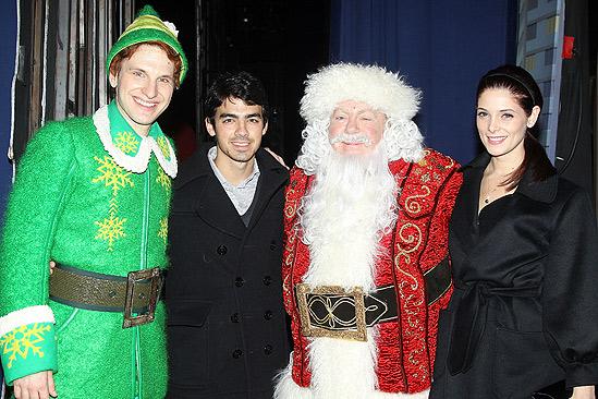 Backstage at Elf with Joe Jonas – Sebastian Arcelus – Joe Jonas – George Wendt - Ashley Greene