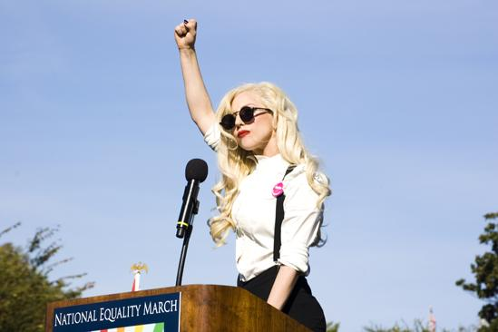 Hair at the National Equality March - Lady Gaga Fist