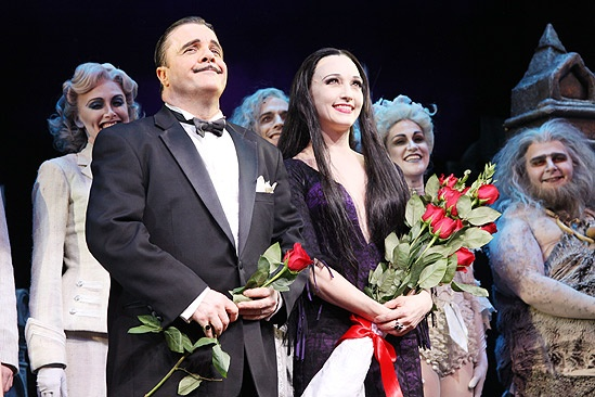 The Addams Family opening – cc - Nathan Lane – Bebe Neuwirth bow