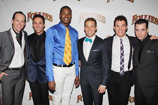 <i>Follies</i> opening night – Clifton Samuels, Matthew deGuzman, Lawrence Alexander, Brandon Bieber, Amos Wolff and John Carroll