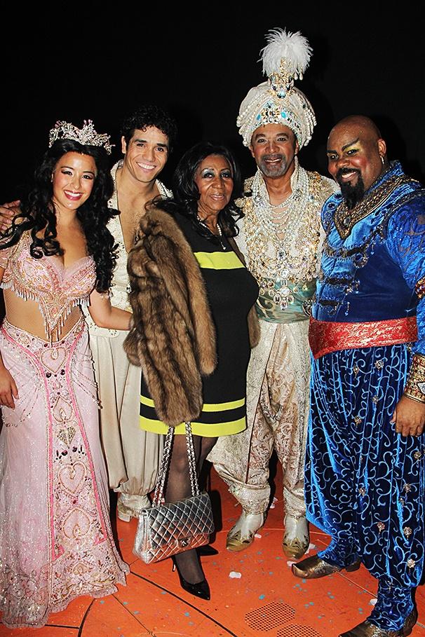 Aladdin - backstage - 9/14 - Courtney Reed - Adam Jacobs - Aretha Franklin - Clifton Davis - James Monroe Iglehart
