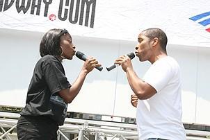 Photo Op - Broadway in Bryant Park 07-26-07 - Sophia N. Stephens - Cornelias Jones Jr.