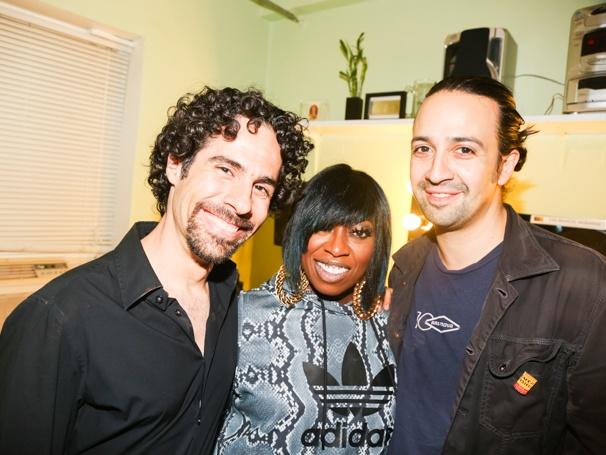 Hamilton - Backstage - 9/15Alex Lacamoire, Missy Elliott and Lin-Manuel Miranda