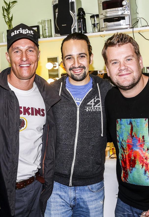 Hamilton - backstage - 10/15 - Matthew McConaughey, Lin-Manuel Miranda and James Corden
