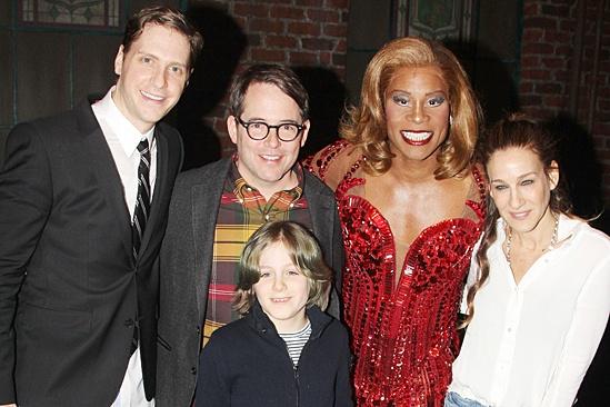 Kinky Boots - Sarah Jessica Parker visits - OP - Andy Kelso - Matthew Broderick - James Wilkie Broderick - Billy Porter - Sarah Jessica Parker
