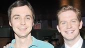 The Normal Heart's Jim Parsons snaps a shot alongside The Book of Mormon's Rory O'Malley, who appeared in a comedy segment alongside Christopher Sieber.