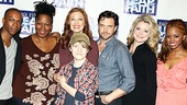 Leslie Odom Jr., Kecia Lewis-Evans, Jessica Phillips,  Talon Ackerman, Raúl Esparza, Kendra Kassebaum and Krystal Joy Brown gather for a Leap of Faith cast photo.