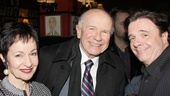 Terrence McNally is flanked by two special collaborators: Ragtime lyricist Lynn Ahrens, and Nathan Lane, who has appeared in many of McNally's plays, including Love! Valor! Compassion! and Lips Together, Teeth Apart.