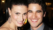 Darren Criss stops by to cheer on his Glee castmate Idina Menzel.