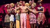 Kevin Mambo as Fela Anikulapo Kuti and the cast of Fela!