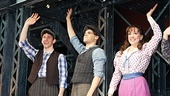 Newsies stars Ben Fankhauser, Jeremy Jordan and Kara Lindsay wave to the cheering audience.