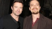 Hugh Jackman strikes a pose with Ryan Andes, who plays Karl the Giant in the whimsical musical.