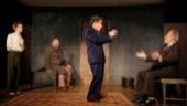 Noah Robbins as Moishe Bretzky, Daniel Oreskes as Pinchas Pelovits, Chip Zien as Vasily Korinsky and Ron Rifkin as Yevgeny Zunser in The Twenty-Seventh Man.