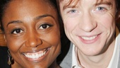 Pippin headliners Patina Miller and Matthew James Thomas get cuddly at the signing table.