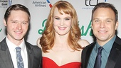 All in the family! Bobby Steggert strikes a pose with his onstage mom, Kate Baldwin, and dad, Norbert Leo Butz.