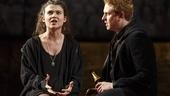 Tafline Steen as Jess and Richard Goulding as Prince Harry in King Charles III.
