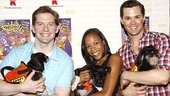 """The Book of Mormon trio Rory O'Malley, Nikki M. James and Andrew Rannells say """"Hello"""" to some canine cohorts."""