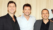 Hugh Jackman is sandwiched by Back on Broadway director/choreographer Warren Carlyle and musical director Patrick Vaccariello.