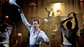 Ricky Martin as Che, Michael Cerveris as Juan Peron, Elena Roger as Eva Peron and the cast of Evita.