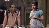 Blair Underwood as Stanley and Daphne Rubin-Vega as Stella in A Streetcar Named Desire.