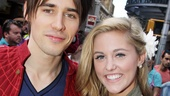 A superhero and a cheerleader: Reeve Carney and Taylor Louderman get close.