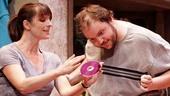 Julia Murney as Tami, Daniel Everidge as Josh and Celia Howard as Grammy Sue in Falling.