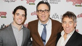 Newsies star Corey Cott comes in close for a photo with composers John Bucchino (A Catered Affair) and Stephen Schwartz (Wicked).