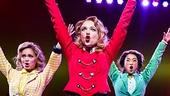 Elle McLemore as Heather McNamara,  Jessica Keenan Wynn as Heather Chandler, Alice Lee as Heather Duke and Barrett Wilbert Weed as Veronica Sawyer in Heathers: The Musical